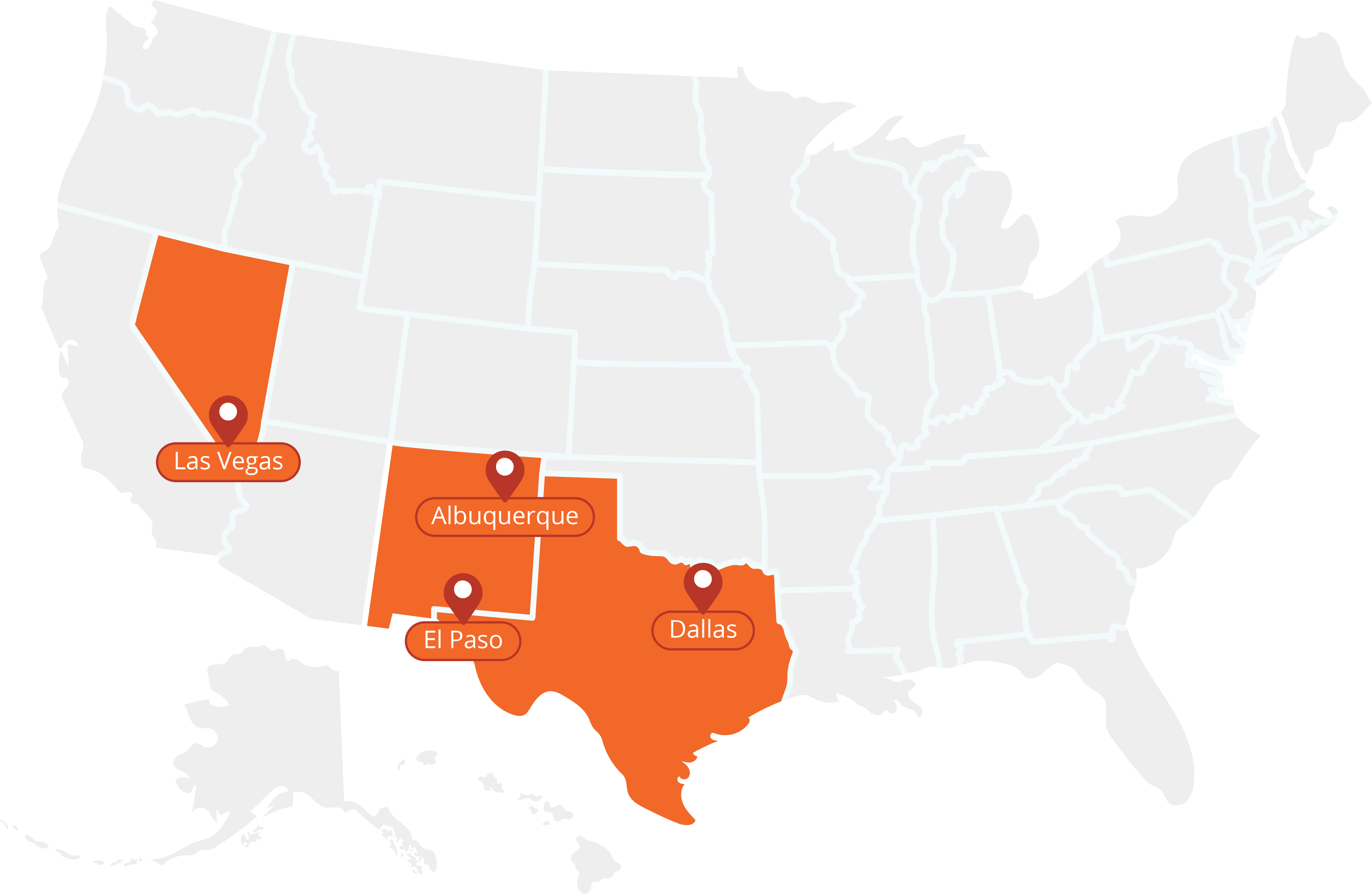 Map of US highlighting Nevada, Arizona and Texas as Get Solarize Coverage area